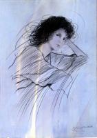 Work of Riccardo Benvenuti - Figura di donna che si riposa  mixed paper