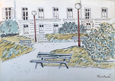 Quadro di Orfeo Tamburi Giardino con Panchina - acquerello cartone