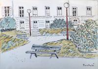 Work of Orfeo Tamburi - Giardino con Panchina watercolor cardboard