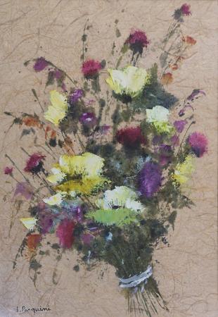 Art work by Luciano Pasquini Composizione di fiori di campo  - oil rice paper