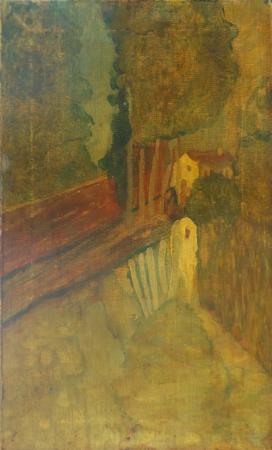 Art work by firma Illeggibile Paesaggio con bosco e lago - oil canvas