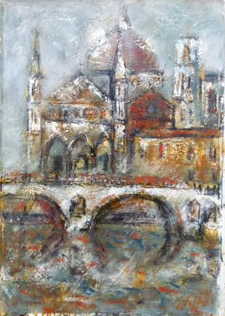 Quadro di Emanuele Cappello La cattedrale gotica - olio tela