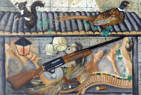 Quadro di Ennio Lovatti Scena di caccia - olio tela