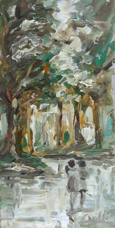 Quadro di Giuseppe Canilli Passeggiata nel bosco - olio tavola