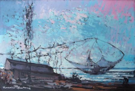 Art work by Voltolino Fontani Bocca d'Arno - oil table