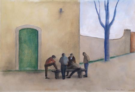Art work by Nino Tirinnanzi Ragazzi che giocano  - mixed linen paper