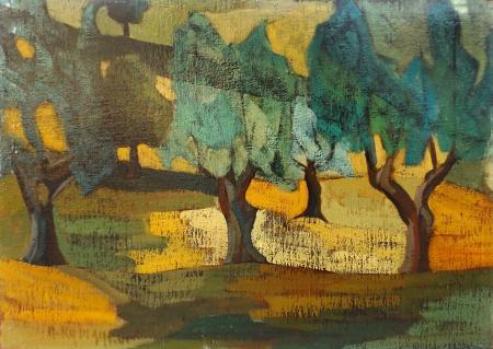 Quadro di Alfio Rapisardi Alberi in campagna - olio cartone telato