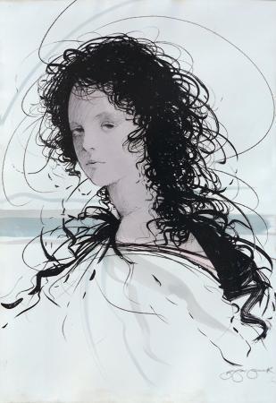 Quadro di Riccardo Benvenuti Volto di donna - litografia carta