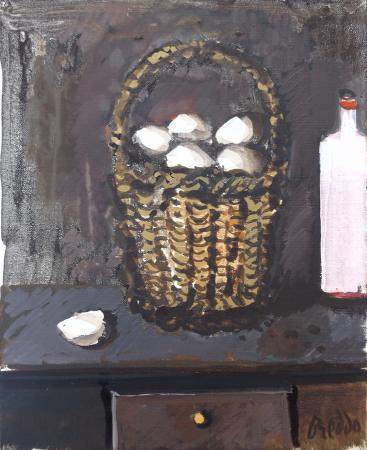 Quadro di Gastone Breddo Cestino di uova con bottiglia di vino - Pittori contemporanei galleria Firenze Art