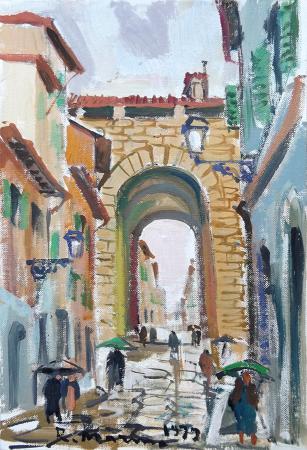 Art work by Rodolfo Marma Porta di San Frediano  - oil canvas cardboard