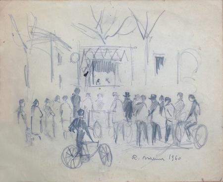 Art work by Rodolfo Marma In attesa dello spettacolo - lapis paper