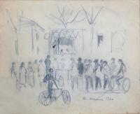 Quadro di Rodolfo Marma - In attesa dello spettacolo lapis carta
