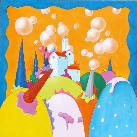 Quadro di Luca Albizi Esplosione di bolle - Pittori contemporanei galleria Firenze Art