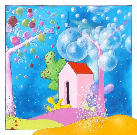 Art work by Luca Albizi Casa fuori città - oil canvas