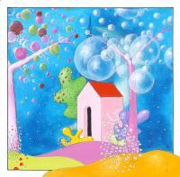 Quadro di Luca Albizi - Casa fuori città olio tela