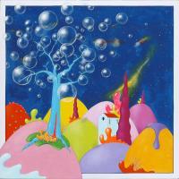 Quadro di Luca Albizi - L'albero delle bolle olio tela