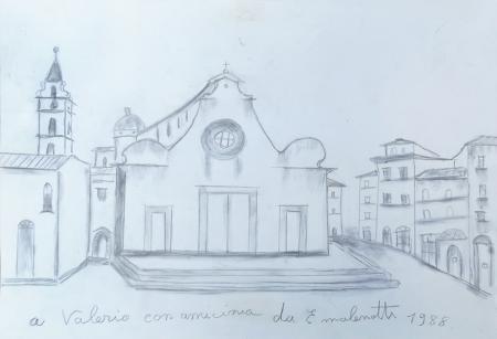 Quadro di Emilio Malenotti Santo Spirito - lapis carta