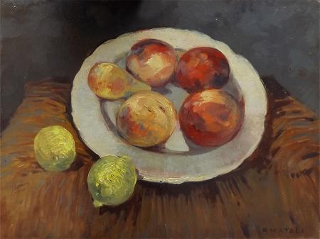 Art work by Renato Natali Frutta e limoni - oil table