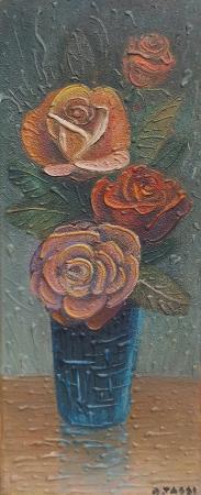 Quadro di A. Tassi Vaso di rose - mista tavola