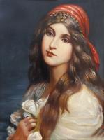 Quadro di  G.R.S. - Donna con fiori bianchi olio tavola