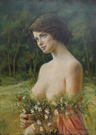 Quadro di A. Morgana Donna con fiori primaverili - olio tavola