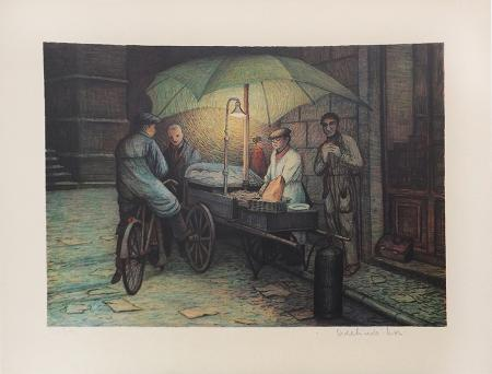 Art work by Adelindo Tassi Venditore di strada - lithography paper