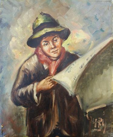 Art work by firma Illeggibile Il giornale - oil canvas