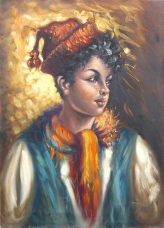 Art work by firma Illeggibile Fanciullo con berretto - oil canvas