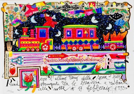 Quadro di Francesco Musante Prenderò l'ultimo treno della sera - litografia polimaterica carta