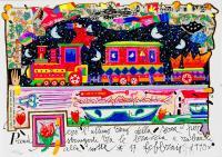 Quadro di Francesco Musante - Prenderò l'ultimo treno della sera litografia polimaterica carta