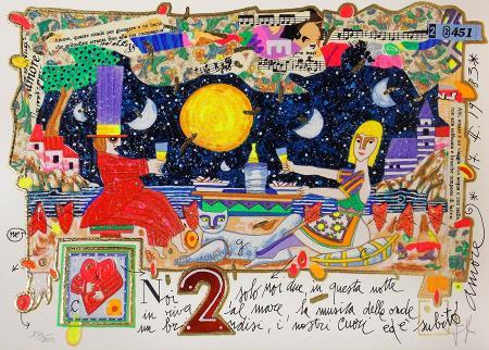 Quadro di Francesco Musante Noi due, solo noi due - litografia polimaterica carta