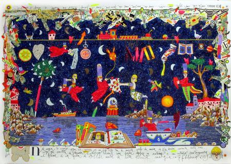 Quadro di Francesco Musante Notte magica - litografia polimaterica carta