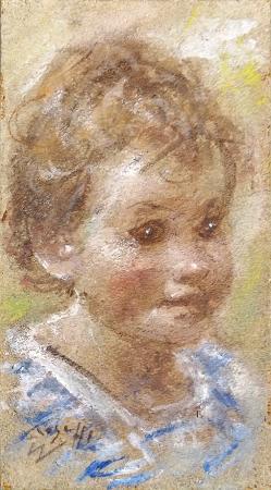 Quadro di Ermanno Toschi  Bambino - olio faesite