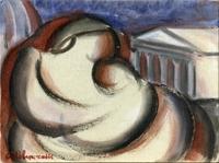 Quadro di Giorgio Polykratis - Madre e figlio olio cartone telato