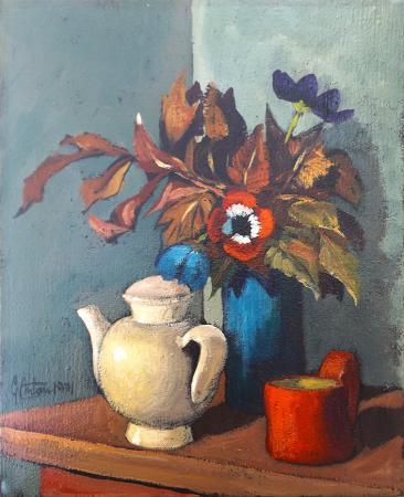 Quadro di Gianfranco Antoni Composizione con fiori - olio tela