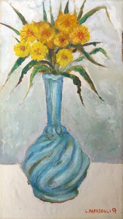 Quadro di Leonardo Papasogli Vaso di fiori gialli  - olio tavola