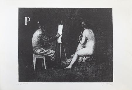 Quadro di Antonio Bueno Il pompiere e la madonna - litografia carta