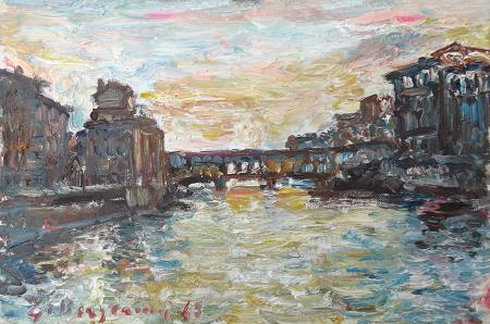Art work by Guido Borgianni Ponte Vecchio - oil hardboard