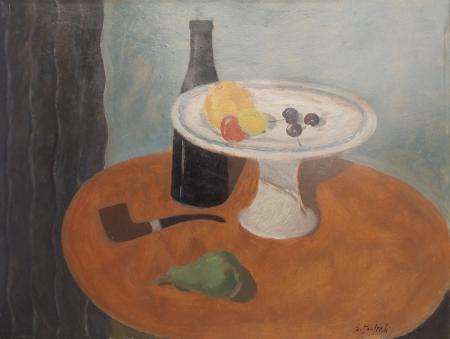Quadro di Giuseppe Manfredi Composizione con pipa - olio cartone
