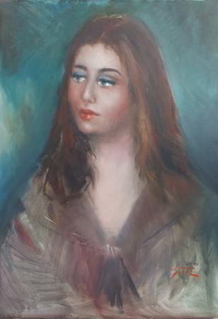 Art work by Gino Tili Ritratto di donna - oil canvas