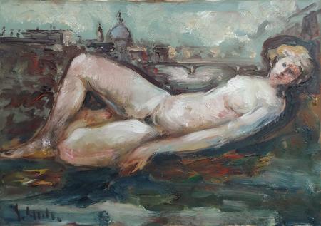 Art work by Emanuele Cappello Nudo su Firenze - oil canvas