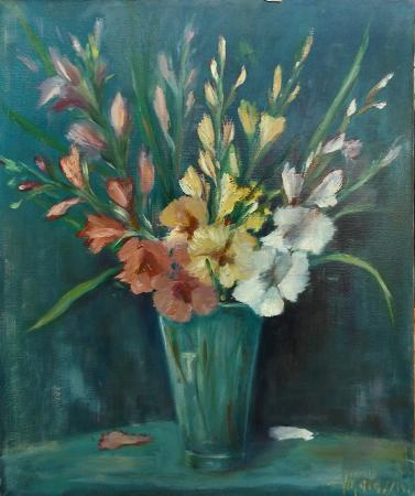 Art work by G. Matassini Gladioli - oil canvas