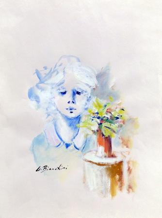 Art work by Umberto Bianchini Bambina - varnish paper