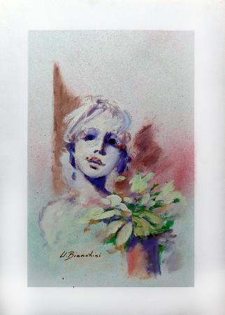 Quadro di Umberto Bianchini Figura con fiori - tempera carta
