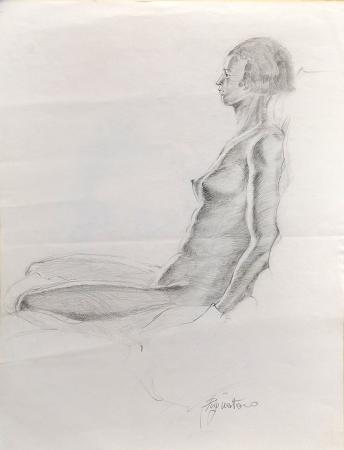 Quadro di Luigi Pignataro nudo seduto - lapis carta