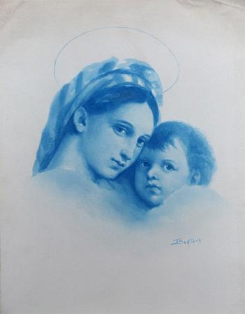 Quadro di firma Illeggibile Madonna con bambino - acquerello carta