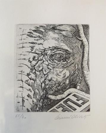Quadro di Gianni Oliveti Elefante che distrugge il distributore di Benzina - incisione carta