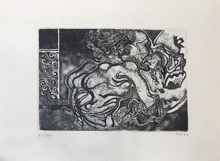 Quadro di Giuliano Pini La morte di Ciaicovski - incisione carta