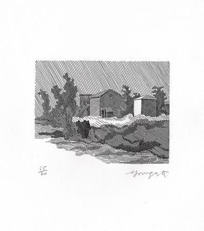 Quadro di Vairo Mongatti Paesaggio sul fiume - incisione carta