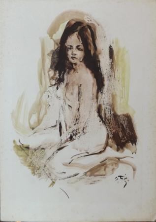 Art work by Gino Tili Nudo - watercolor cardboard